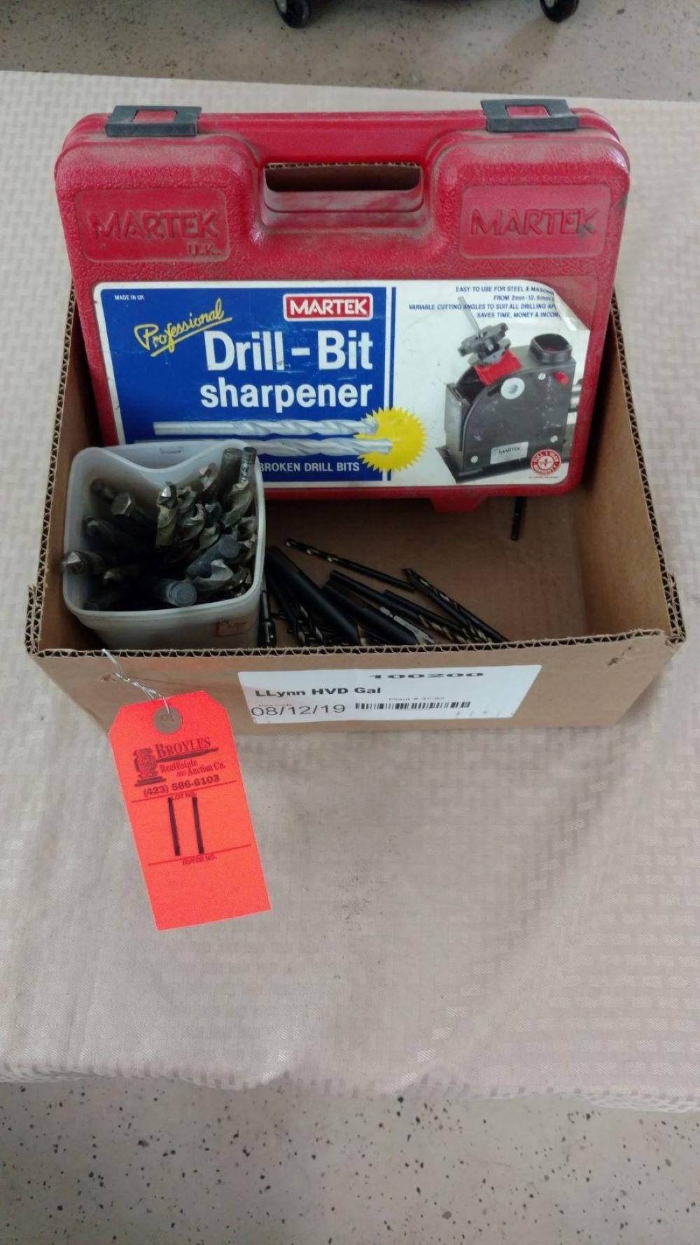 Drill bit sharpener and bits
