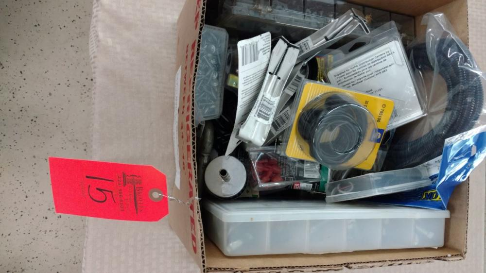 Box lot electrical wire and parts