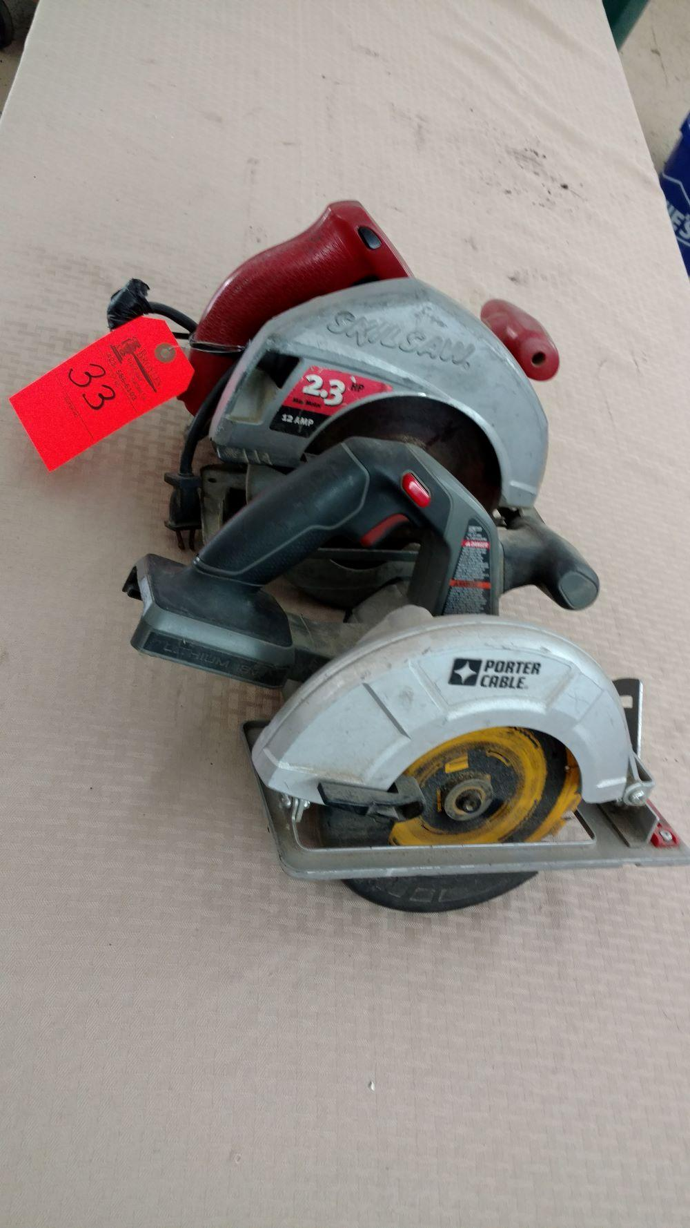 Milwaukee circular saw, Porter cable circular saw