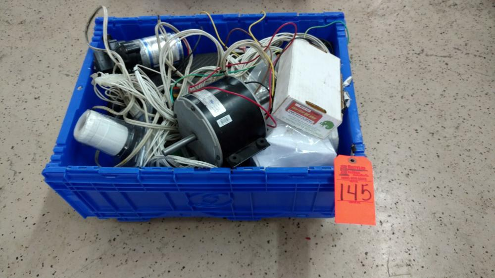 Blue crate of camper RV motor & electrical