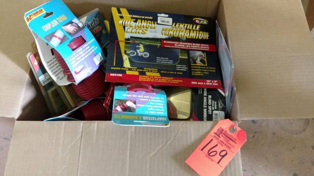 Box lot RV hose couplers, curtain hardware and levels
