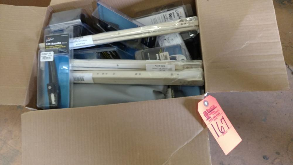 Box lot RV awning parts and lift handles