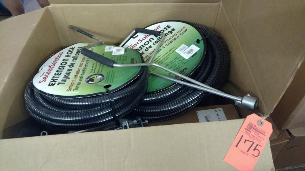 Box lot RV sewer hoses & hitch & sway parts