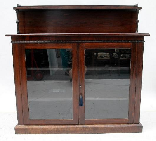 A rosewood glass front two door sideboard for Sideboard glasfront