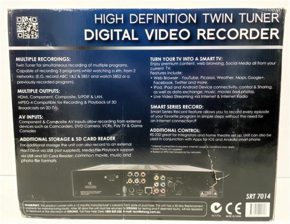 Lot 3032: A digital video recorder HD twin tuner marked Strong in open box
