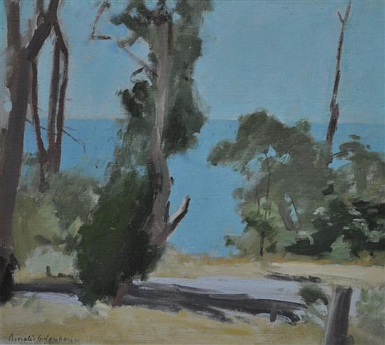 Amalie Sarah Colquhoun (1894-1974, Australia) Coastal Landscape - Port Philip Bay oil on canvassed board