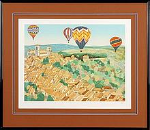 Francois (Fanch) Ledan (b.1949) Balloons over the Town Colour lithograph ed.A/P