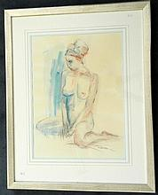 H Verstak Seated Nude Charcoal & watercolour