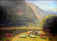 Thomas Dean (1857-1947) Cattle Grazing in the Valley, 1945 Oil on canvas