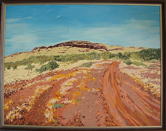Marion Ahern-Fisher Outback Road 1984 Acrylic on canvas