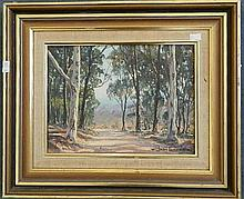 John Emmett (b.1927) Lengthening Shadows, Megalong Valley Oil on canvasboard