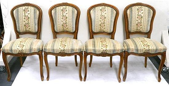A set of four Louis XVI style salon chairs