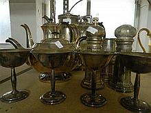 A quantity of EP ware incl Tea & Coffee Pots With Salt & Pepper Shakers Etc 11pce