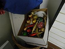 Cane Basket & a Box Containing Christmas Decorations Boat Book Shelf Menu Holders a Carrying Case with a Canvas Strecher & Copper Wa...
