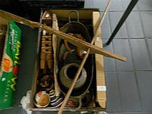 Box of Tribal and Asian Artifacts in a Part Leather Suitcase