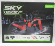 Two drones, a Runqia Toys R-series RQ77-05 & Sky Hawkeye, both in open boxes, as found plus extra props