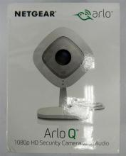 A Netgear Arlo Q HD security camera in sealed box