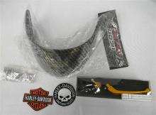 Motorcycle accessories incl. folding levers, helmet visor etc.