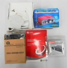 Assorted electrical sundries incl. power control stereo amp etc.