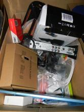 A box of assorted electrical & computer sundries