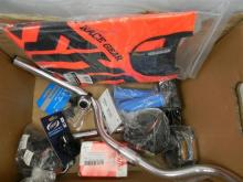 A bag of assorted bicycle accessories, clothing etc.