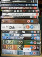 A collection of television DVD sets incl. Lost, Strike Black etc.