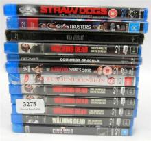 Twelve assorted Blue Ray discs incl. Straw Dogs, The Walking Dead etc.