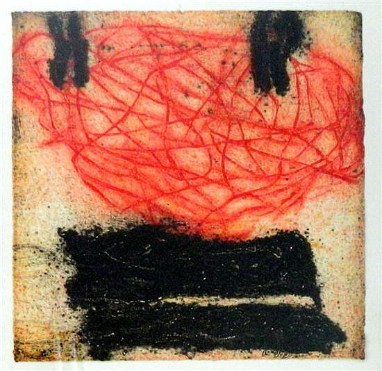 Jenny Sages (b.1933) Untitled Abstract Etching aquatint colour
