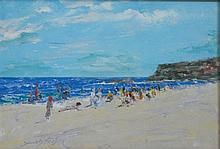 Donald Fraser Beach Scene Oil on board