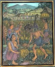 Wayan Suporto Harvesting, Jamon Ubud, Bali Oil on canvas
