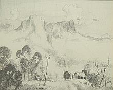 Graham Cox (b.1941) Quamby Bluff, Tasmania 1975 Pencil