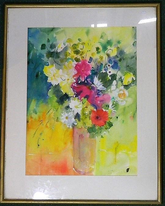 Sheila White, Summer Still Life, Watercolour, Signed lower right, 73 x 54 cm