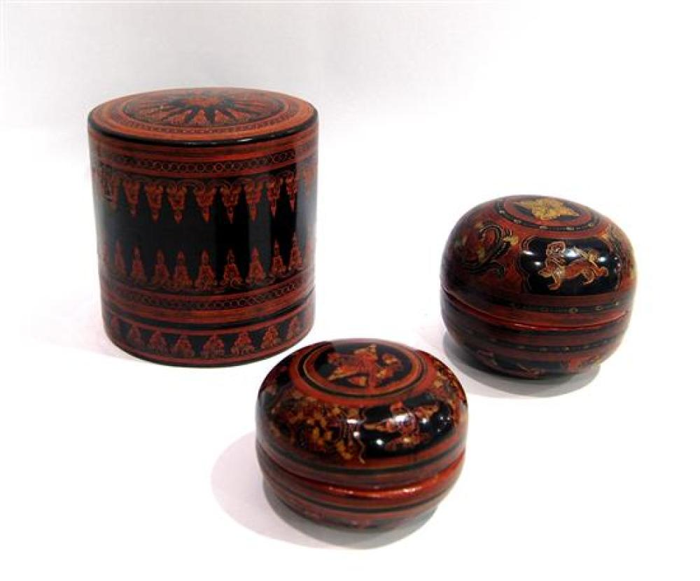 Lot 306: Three Burmese Lacquer Boxes, a Cylindrical Shape & Two Cushion  Shaped, for Tobacco, Betel Nut & Other Herbs, Pagan, 20th C ,