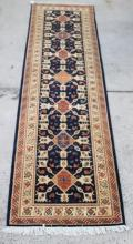 A Hand-Knotted Afghan Hezareh with Geometric Design