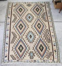 A Hand-Knotted Persian Kelim in Wool with a Geometric Design