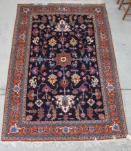 A Hand-Knotted Persian Ardabil in Navy and Brown with a Geometric Design