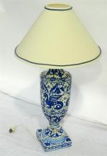 A Blue and White Ceramic Lamp Base and Cream Shade