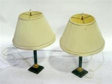 A Pair of Green Marbled and Metal Lamp Bases with Cream Shades with Crystal Finial
