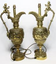A Pair of Brass Ewer Shaped Side Lamps