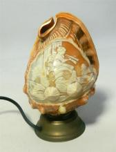 A Carved Shell Bedside Lamp