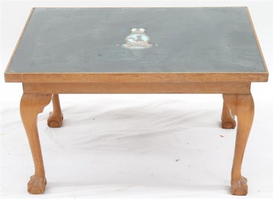 A timber coffee table with melbourne shield decoration for Coffee tables melbourne