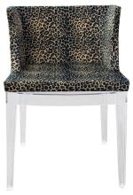 A Replica Philippe Starck Mademoiselle Chair with Leopard Print Upholstery,