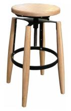 An Anders Adjustable Barstool in Natural & Black Metal,