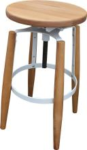 A Pair of Anders Adjustable Barstools in Natural & White Metal,