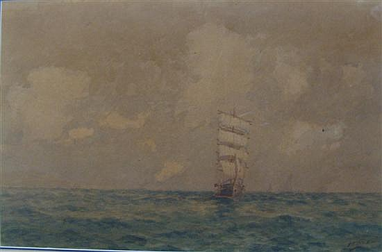 Frederick James (Fred) Elliott (1864-1949) At Sea Under Full Sail Watercolour