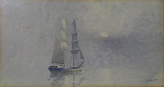 Frederick James (Fred) Elliott (1864-1949) Becalmed Watercolour