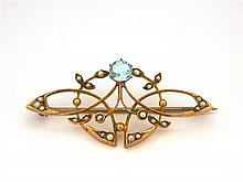 An Australian 9ct Yellow Gold Brooch with Seed Pearls and Blue Gemstone