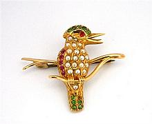 An Australian 15ct Yellow Gold Multi-Gemstone Kookaburra Brooch
