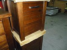 2 Bendigo chestnut timber 3 drawer bedside cabinets