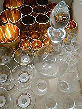 Italian gold plated glass set, together with decanter and glasses and other stemware